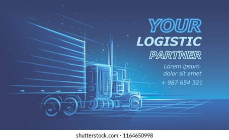 Logistic/driver services card template. Vector. Text is outlined and for preview only.