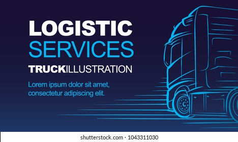 Logistic/driver/delivery services card template with blue dark background. Vector.