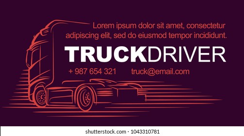 Logistic/driver/delivery services card template. Vector.