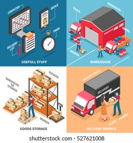 Logistics 2x2 design concept with workers engaged in loading delivery truck  and goods storage isometric icons vector illustration