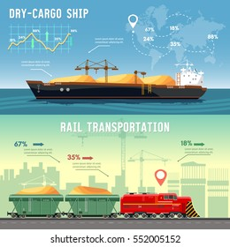 Logistics banner Cargo transportation. Delivery by railway lines. Transportation and transportation by freighters.