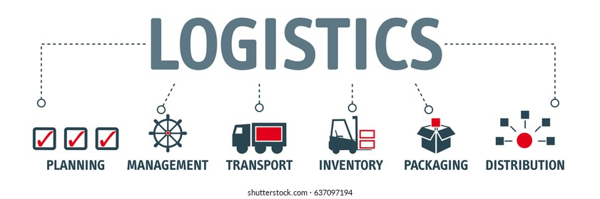logistics. Banner logistics with keyword and vector icons