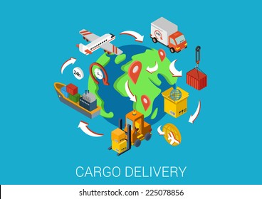 Logistics cargo delivery flat 3d isometric pixel art modern design concept vector worldwide shipment boat crate container loader barge van package web banners illustration website click infographics