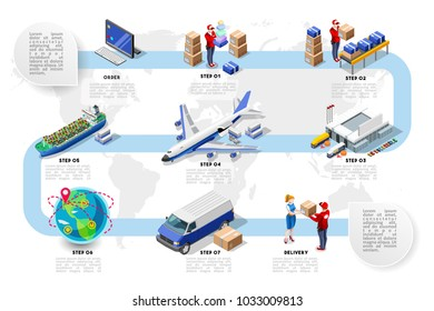 Logistics cargo vehicle freight. Trade network concept. Vector design isometric illustration.
