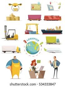 Logistics cartoon icons set with cargo symbols isolated vector illustration