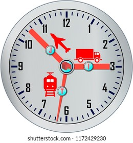 Logistics concept Just in time (JIT) cargo, air, railway transportation and clock over white, eps10 vector