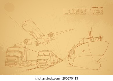 logistics concept  with line drawing style on old brown paper,logistics background