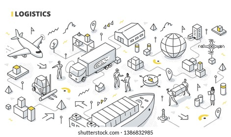 Logistics concept. Transportation & distribution of goods. Inventory management & cargo delivery service. Isometric doodle illustration for web banners, hero images, printed materials