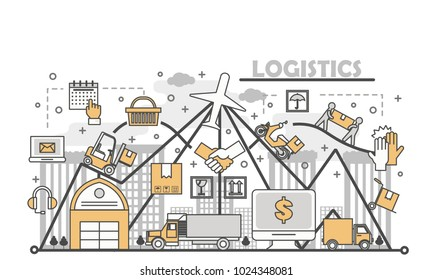 Logistics concept vector illustration. Modern thin line flat design element with distribution, logistics delivery symbols for web, marketing, presentation and print.