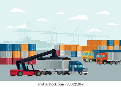 Logistics container cargo freight ship for import export. Vector illustration