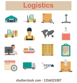Logistics and delivery color flat icons set