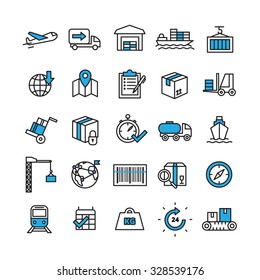 Logistics and delivery concept line icons set with time and transport symbols flat isolated vector illustration