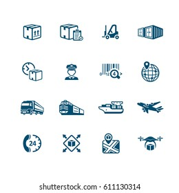 Logistics and delivery contour icon-set