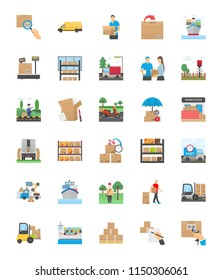 Logistics Delivery Flat Icons