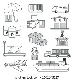 Logistics and delivery, parcels and cargo transportation isolated icons vector. Warehouse building, cargo truck loading, tracking number, cargo ship. Barcode and barrels, airplane and industrial crane