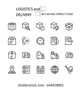LOGISTICS and DELIVERY vector line 48x48 Pixel Perfect Icons, Editable Stroke.
