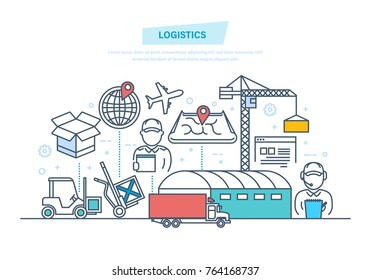 Logistics, delivery. Vehicles, navigation gps. Transportation services, trucking, shipping. Order goods in store, smart logistics and fast delivery. Illustration thin line design of vector doodles.
