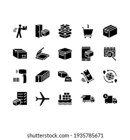 Logistics and distribution icon set. Contains such Icons as Warehouse, Worldwide Shipping, Courier service, Express Delivery and more. For graphic design, mobile application, web design,
