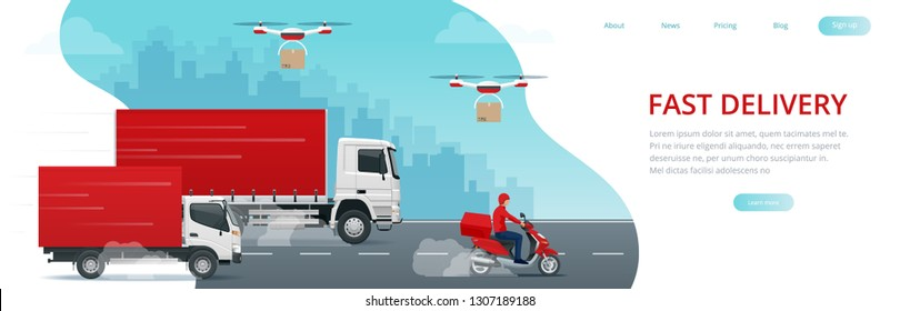 Logistics and Fast delivery of package service service lendingpage template. Delivery home and office. City Fast delivery. Truck, courier, drone and delivery man. Vector illustration