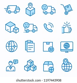 Logistics flat line icons. Set of container, cargo, transportation, box, delivery, and more. Editable Stroke. Change to any size and any colour.