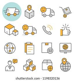 Logistics flat line icons. Set of cargo, transportation, box, delivery, transport and more. Editable Stroke.