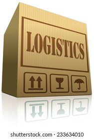 logistics freight transportation cardboard box package ready for global transport