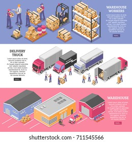 Logistics horizontal banners set with delivery symbols isometric isolated vector illustration