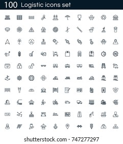 Logistics icon set with 100 vector pictograms. Simple outline shipping icons isolated on a white background. Good for apps and web sites.