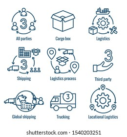 Logistics icon set with buildings, trucking, people and shipping box