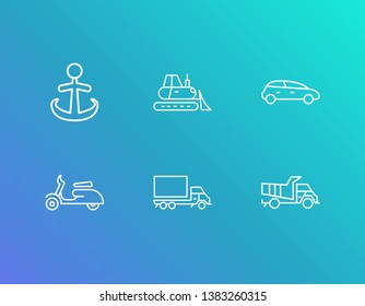 Logistics icon set and bulldozer with anchor, truck and dump truck. Moped related logistics icon vector for web UI logo design.