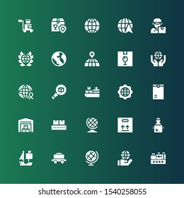 logistics icon set. Collection of 25 filled logistics icons included Conveyor belt, World, Earth globe, Freight, Ship, Delivery man, Package, Conveyor, Warehouse, Global, Cargo ship