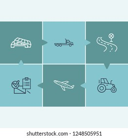 Logistics icon set and road with flatbed truck, tractor and aircraft. Delivery related logistics icon vector for web UI logo design.