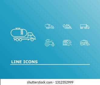 Logistics icon set and tank truck with delivery protection, semi truck and tractor. Cargo related logistics icon vector for web UI logo design.