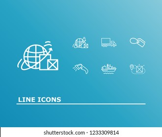 Logistics icon set and truck with tag, cargo ship and delivery destination. Location related logistics icon vector for web UI logo design.