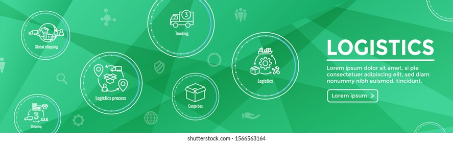 Logistics icon set & web header banner with buildings, trucking, people and shipping box