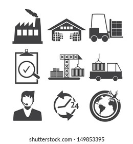 Logistics icons - Black and white series