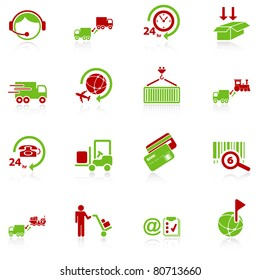 Logistics icons - green-red series