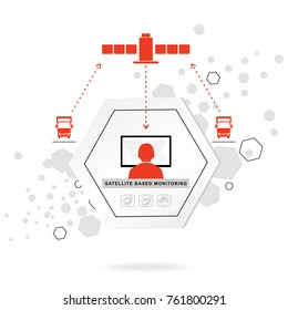 Logistics icons. Hexagon Abstract vector background. Telematics systems. Communication. Red grey flat icons
