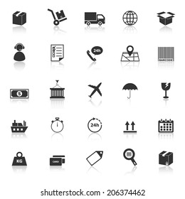 Logistics icons with reflect on white background, stock vector