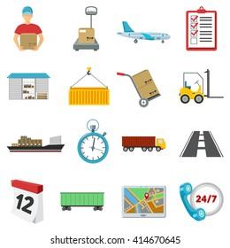 Logistics icons set.
