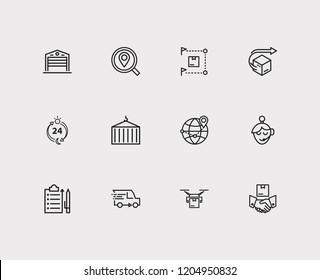 Logistics icons set. Distribution and logistics icons with delivery location, logistics and delivery hours. Set of lift for web app logo UI design.