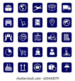 Logistics icons. Set icons transport and logistics.  Warehouse and shipping equipment. Stock vector. Flat design.