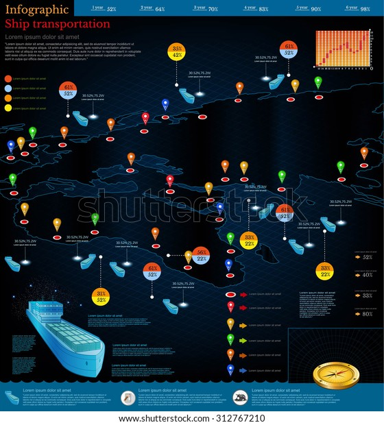 Logistics Infographic Cargo Ships Route Deliverypart Stock