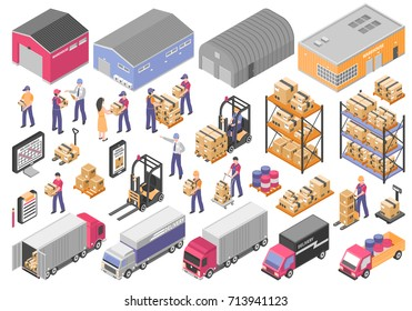 Logistics isometric icons set with cargo symbols isolated vector illustration
