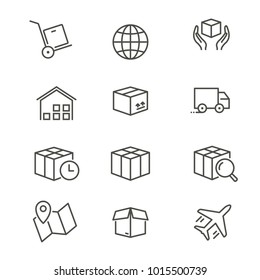 Logistics - line vector icon set. Editable stroke. Container, cargo, transportation, box, van, map, ets.