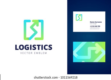 Logistics logo and business card template. Vector sign for transportation or logistic company. Vector illustration.