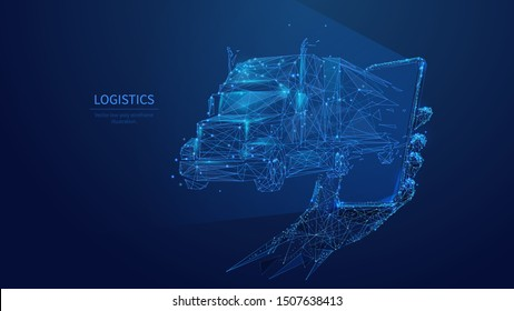 Logistics low poly art illustration. 3d polygonal truck and phone. Online delivery service concept with connected dots and lines. Goods shipment and distribution vector color wireframe mesh