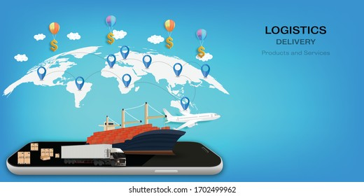 Logistics Online delivery service, online order tracking,Delivery home and office. City logistics. Warehouse, truck, forklift, courier. vector illustration.