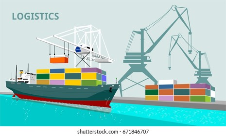 logistics port, ship, freight, warehouse, terminal, loading, unloading, truck, container ocean, sea, delivery truck lorry seaport