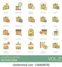 Logistics retro vector icons. Weight, platform scale, dimension, recycle, flammable, safety, umbrella, fragile, dangerous goods, tracking, order delivery, parcel inspection, sku description, barcode.